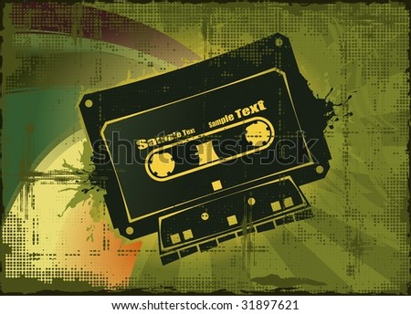 a cassette with colored background - stock vector