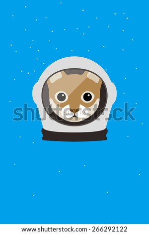 A cat wear spacesuit in the space, Fashion portrait of cat - stock vector