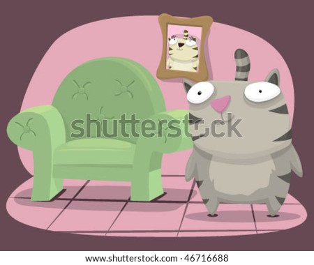 A cat with a chair. - stock vector