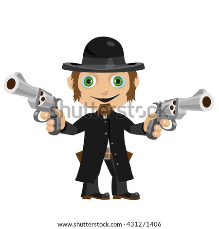 A Catholic priest with two guns. Vector illustration.