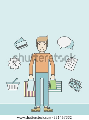 A caucasian customer carrying bags and some icons around him on blue background. Vector line design illustration.  Vertical layout with a text space for a social media post. - stock vector