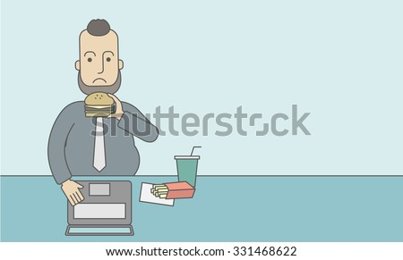 A caucasian fat man with beard working on laptop at the table eating junk food. Vector line design illustration. Horizontal layout with a text space for a social media post. - stock vector