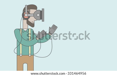 A caucasian hipster man with beard wearing a virtual reality headset. Vector line design illustration. Horizontal layout with a text space for a social media post. - stock vector