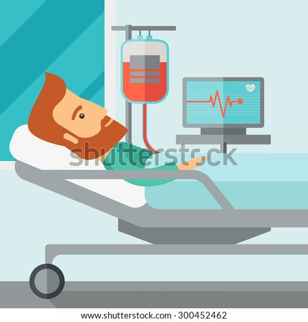 A caucasian patient in hospital bed in having a blood transfussion being monitored. Contemporary style with pastel palette, soft blue tinted background. Vector flat design illustrations. Square layout - stock vector