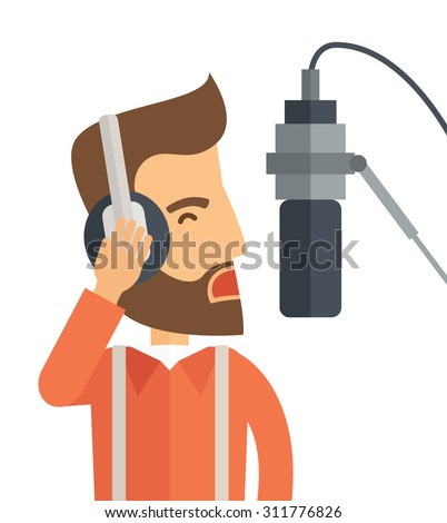 A caucasian radio DJ with headphone and microphone raising his voice. A Contemporary style. Vector flat design illustration isolated white background. Square layout. - stock vector