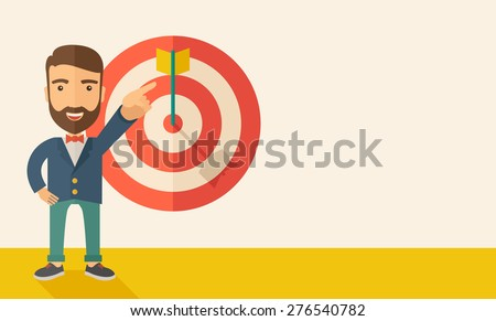 A Caucasian salesman happy standing while his hand pointing to the arrow from target pad shows that he hit his target sales. Business concept. A Contemporary style with pastel palette, soft beige - stock vector