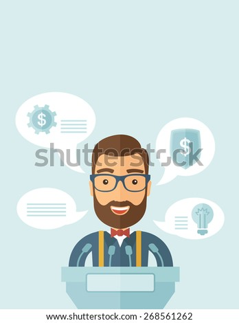 A Caucasian speaker stands behind a podium with microphones makes a business report  and marketing strategy inside the conference room. Presentation, reporting concept. A contemporary style with - stock vector