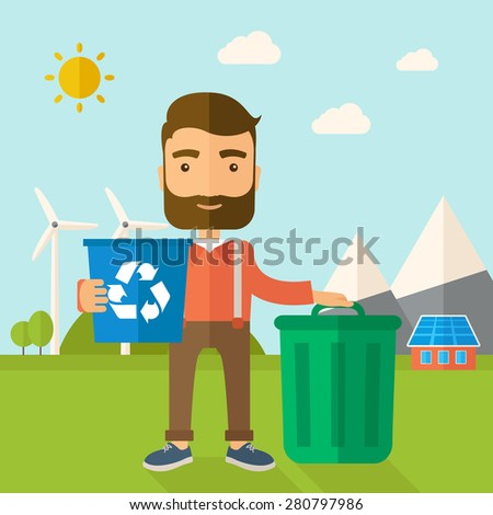 A Caucasian standing outside the house sorting a trash and will throw to the barbage bin. Eco-friendly. A Contemporary style with pastel palette, soft blue tinted background with desaturated clouds - stock vector