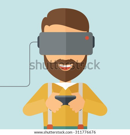 A caucasian wearing with virtual reality headset with remote control. A Contemporary style with pastel palette, soft blue tinted background. Vector flat design illustration. Square layout. - stock vector