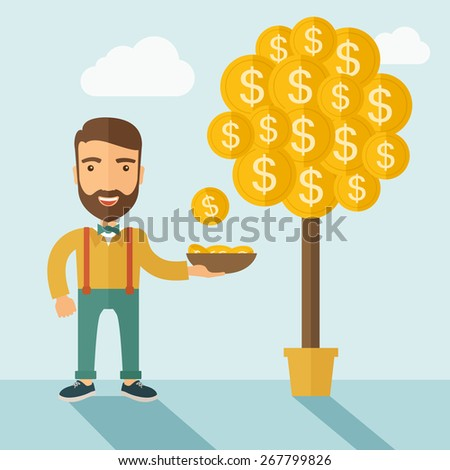 A Caucasian with beard man standing while catching a dollar coin from money tree.  - stock vector