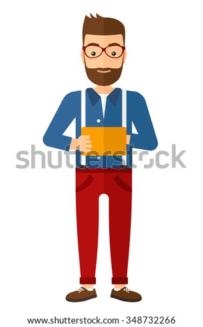 A caucasian young hipster man with the beard standing with tablet computer in the hands vector flat design illustration isolated on white background. Vertical layout. - stock vector