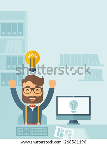 A Caucasian young man is happy raising his two hands getting an idea through computer internet inside his office. Successful concept. A contemporary style with pastel palette, soft blue tinted - stock vector