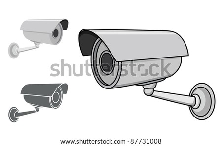 A CCTV Camera in 3 different styles, in an editable vector illustration. - stock vector