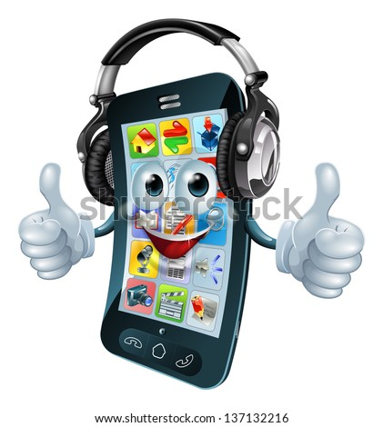 A cell phone cartoon character with music headphones on giving the thumbs up. Could be a concept for a music app or similar.