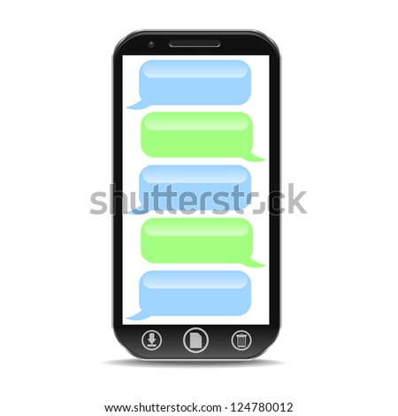 a cellphone with speach bubble - stock vector