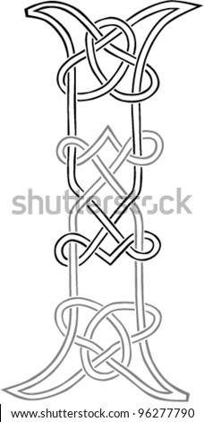 A Celtic Knot Work Capital Letter I Stylized Outline Vector Version