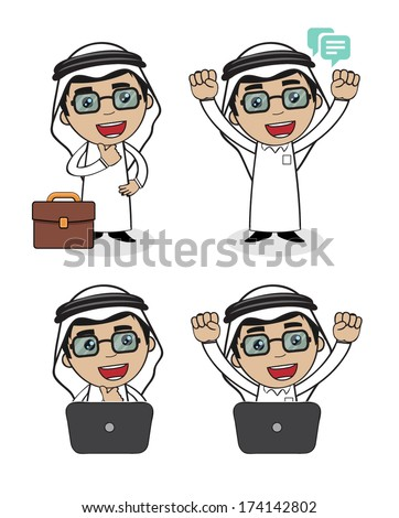 A character for an Arabic Saudi Arabian business man wearing the Arabic white outfit and black shoes thinking, happy, excited, confidence with a laptop and suitcase  - stock vector