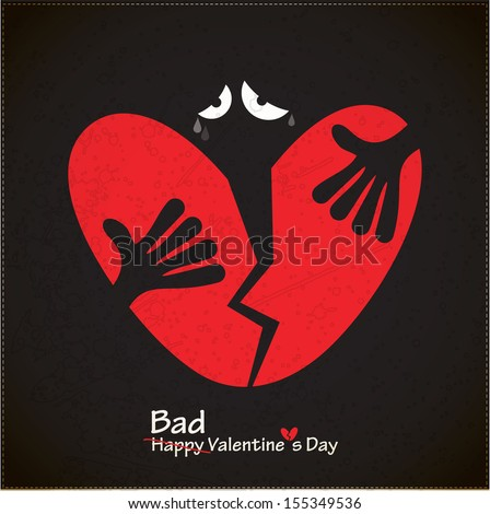 A character with broken Heart. Valentine`s day card. vector - stock vector