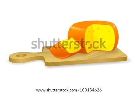 A cheese wheel and a slice of cheese. - stock vector