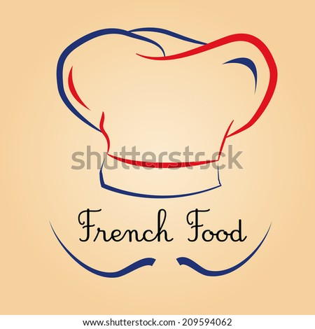 a chef hat, a mustache and some text for menu design - stock vector
