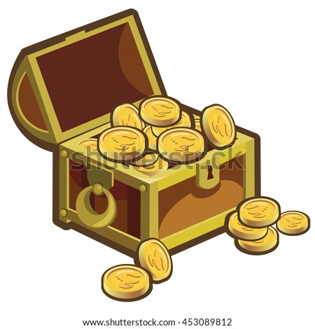 A chest of gold coins with images of a seahorse. Vector illustration.