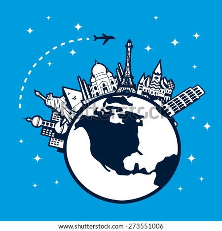 A chic vector illustration of  a travel concept - globetrotting: a plane travel through all famous international cities on a globe with a starry backdrop.   - stock vector