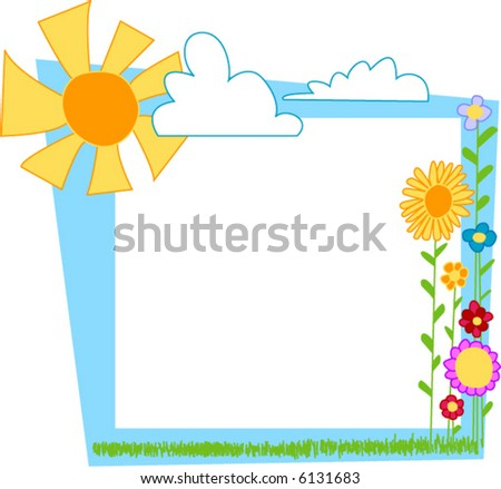 "A child like drawing of a sun and flower ""frame"". - stock vector"