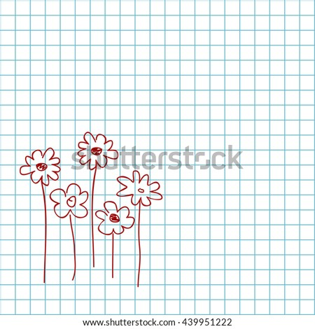a child's drawing of flowers in red on a plaid background - stock vector