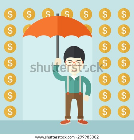 A chinese happy Businessman with umbrella under a rain of dollar coin. A contemporary style with pastel palette soft blue tinted background. Vector flat design illustration. Square layout.    - stock vector