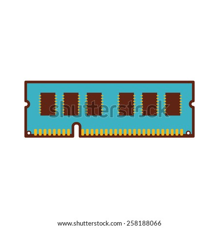 A chip of RAM (Random Access Memory) for a personal computer CPU. - stock vector
