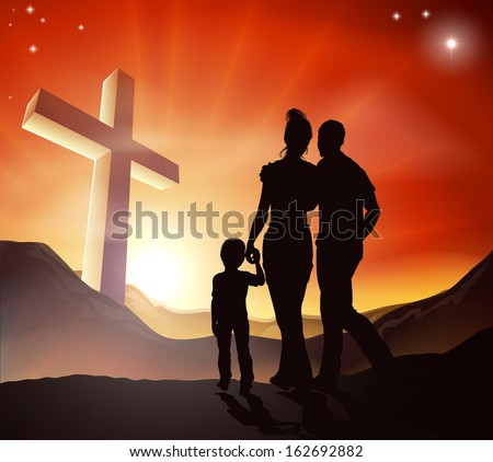 A Christian family walking towards a cross in a mountain landscape with sunrise over mountains, Christian lifestyle concept - stock vector