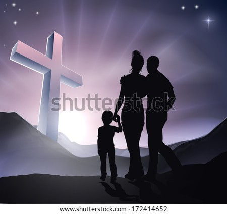 A Christian family with a cross in a mountain landscape and a sunrise, Christian family life or Easter concept