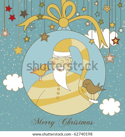 A Christmas Greeting with Santa in a Christmas Ornament - stock vector