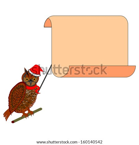 A Christmas owl with a big blank paper in his beak. Vector-art illustration isolated on a white background - stock vector