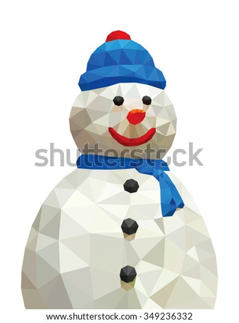 A Christmas snowman isolated against white, low poly vector illustration.  - stock vector