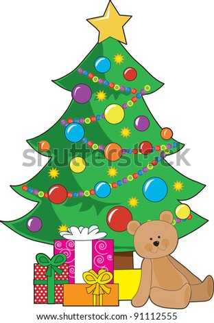 A Christmas tree decorated with ornaments and a star, has wrapped gifts and a teddy bear around it's base. - stock vector