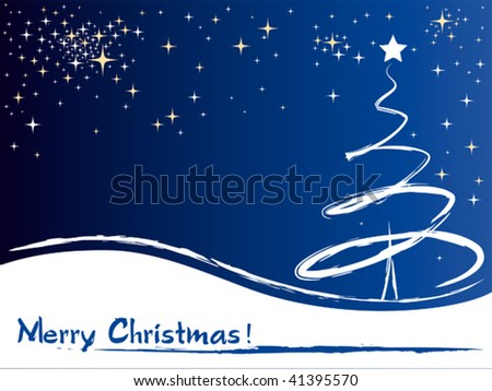 A christmas tree vector greeting card. Vector illustration - stock vector