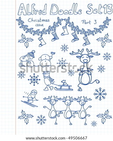 A Christmass collection of doodles - stock vector