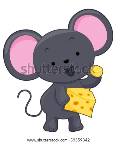 A Chubby Little Mouse Holding a Slice of Cheese - Vector - stock vector
