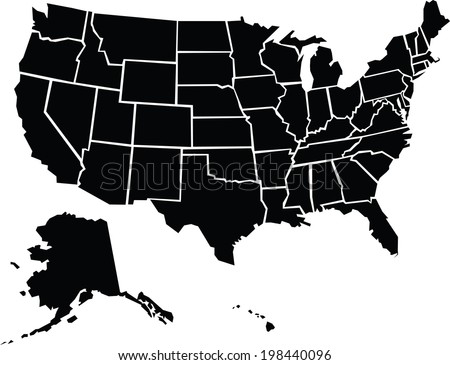 A chunky, cartoon map of the USA including Alaska and Hawaii. - stock vector