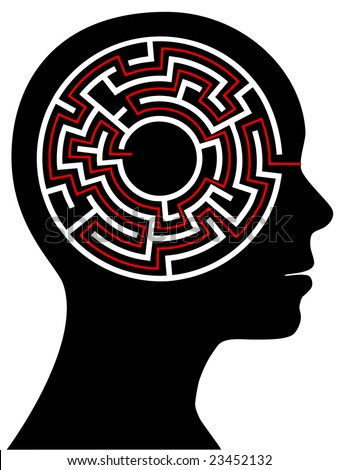 A circle radial maze puzzle as a brain in a profile person's head. - stock vector