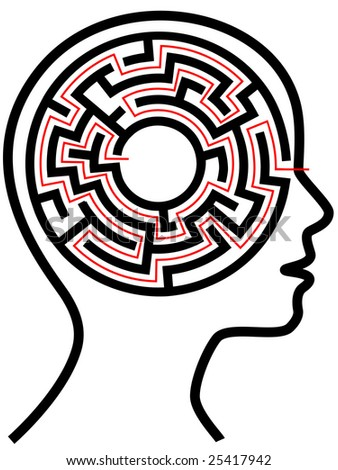 A circle radial maze puzzle as a brain in a profile person's head outline. - stock vector