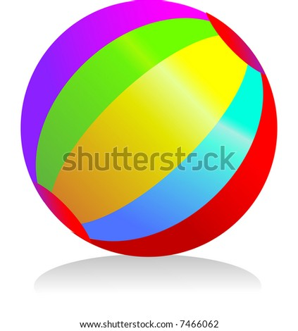 a circular ball with rainbow colours bright and a summer icon