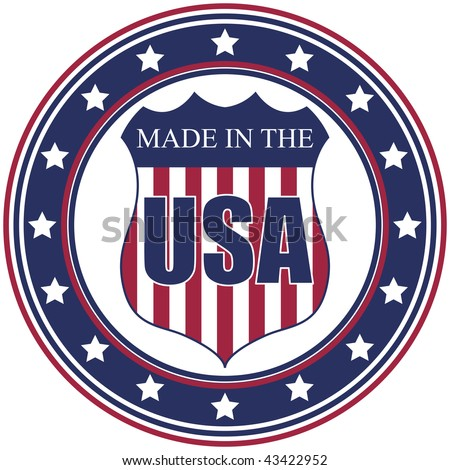 A circular made in the U.S.A. vector decal or stamp - stock vector
