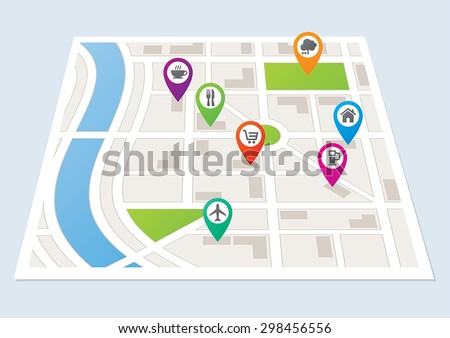 A city map with location markers - stock vector