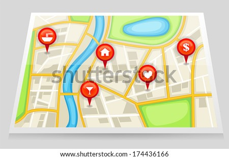 A city satellite map gps with important recommend pin location of dating sport house bank restaurant and bar in red marker, create by vector