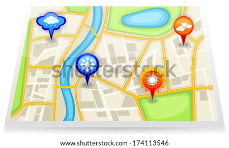 A city satellite map with red different weather forecast pin marker of cloudy sunny rainy wet rain and snowy snow area, create by vector
