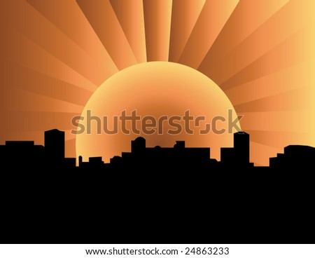 A city with glowing sun .visit my gallery for more - stock vector