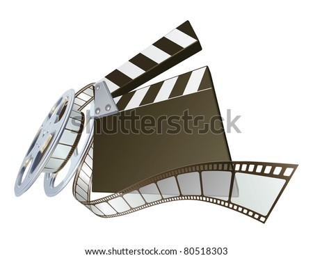 A clapperboard and film spooling out of film reel illustration. Dynamic perspective and copyspace on the board for your text. - stock vector