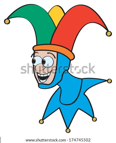 A classic cartoon jester with a funny smiley face. - stock vector